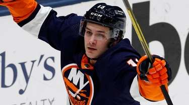 Mathew Barzal of the Islanders celebrates his second-period