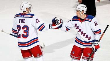 Ryan Strome of the Rangers is congratulated by