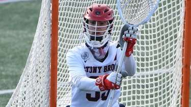 Stony Brook goalkeeper Anthony Palma protects the net
