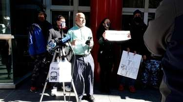 A small protest took place in Manhattan on