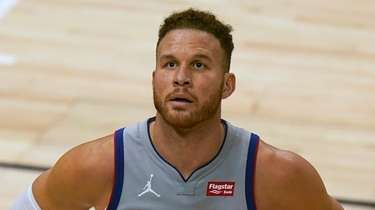 Blake Griffin looks at the scoreboard in the