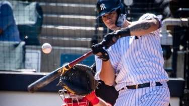 Yankees' Gary Sanchez bats against the Philadelphia Phillies