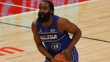 James Harden #13 of Team Durant handles the