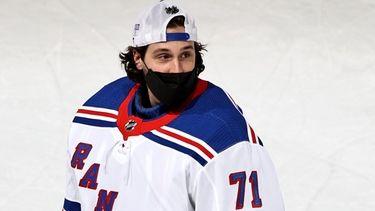 Keith Kinkaid of the New York Rangers skates