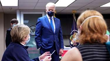 President Joe Biden visits a Veterans Affairs COVID-19