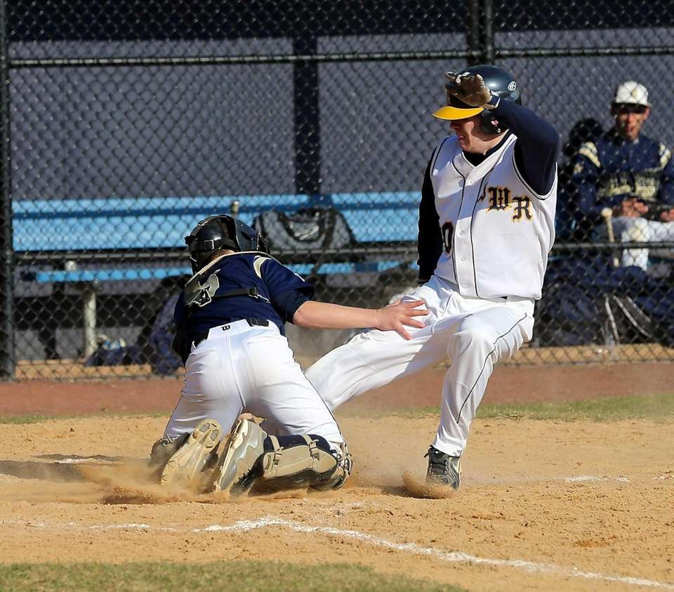 Shoreham-Wading River's Evan Kearney gets tagged out at
