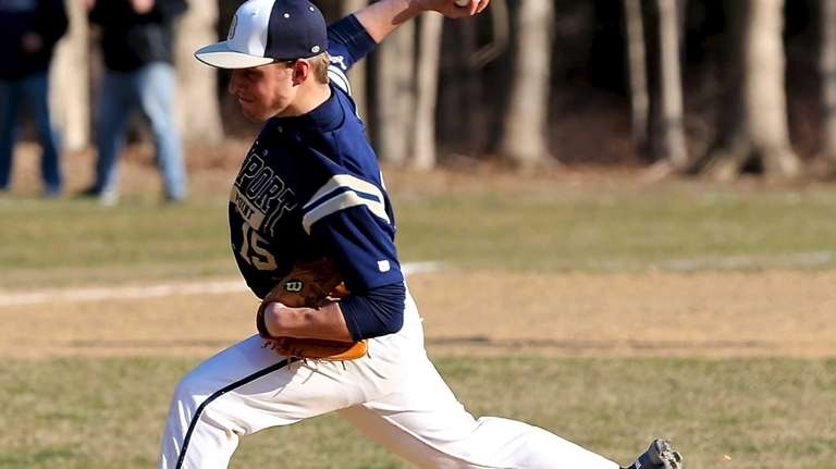 Bayport-Blue Point pitcher Chris Brewer delivers a pitch