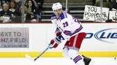 Ryane Clowe of the Rangers skates against the
