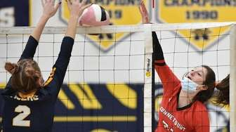 Gabby Carere #21 of Connetquot, right, looks to