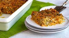 Passover vegetable kugel made with shredded vegetables and