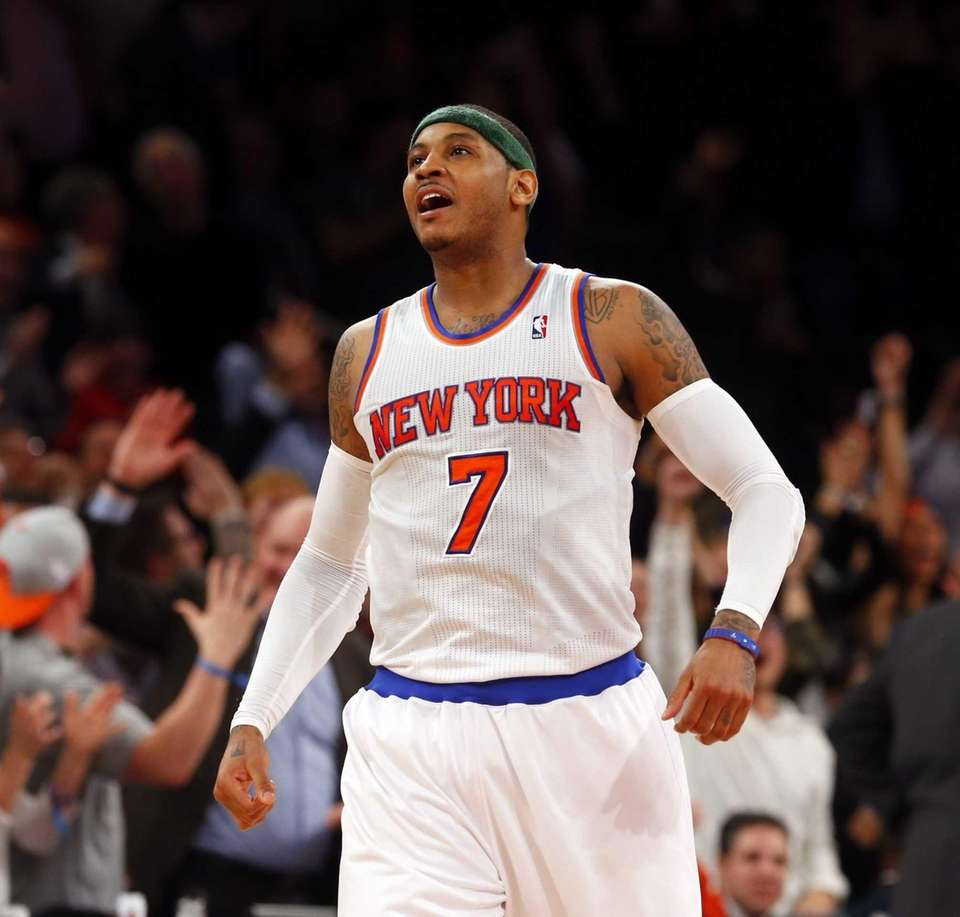 Carmelo Anthony of the Knicks celebrates his last