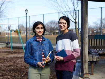 Sanjana Lodha, left, and Sneha Singhi want to