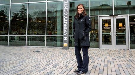Adelphi University President Christine Riordan on Tuesday in