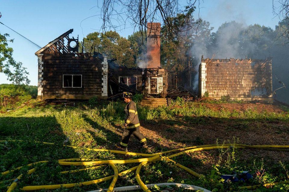 A fierce blaze gutted a former schoolhouse on