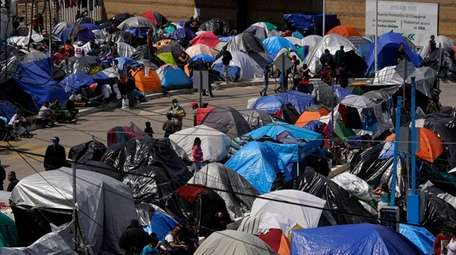 A makeshift camp at the border in Tijuana,