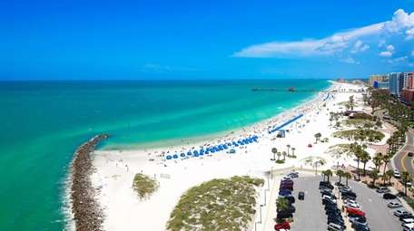 An aerial view of sunny Clearwater Beach Florida.
