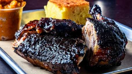 BBQ duck with sweet potato and cornbread at