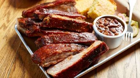 St. Louis style ribs, cornbread and baked beans
