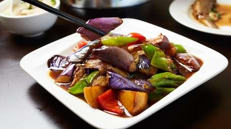 Triple delight vegetables with eggplant, peppers, and potatoes