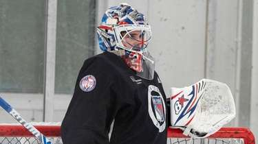 Igor Shesterkin at Rangers practice on Jan. 15,