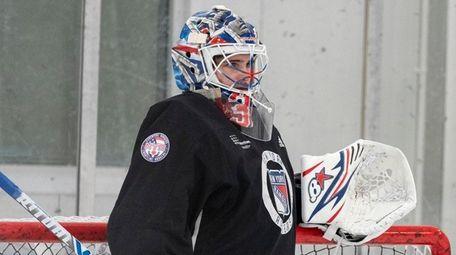 Igor Shesterkin at Rangers practice on Jan. 15,