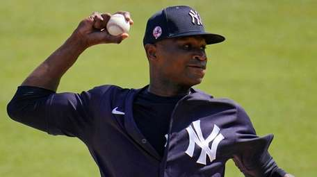 Yankees pitcher Domingo German delivers during the first