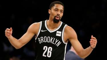 Spencer Dinwiddie of the Nets reacts during the