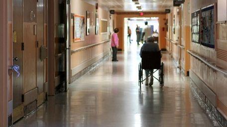 A corridor of a nursing home prior to