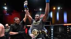 Francis Ngannou of Cameroon reacts after his victory
