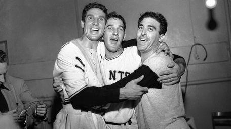 Bobby Thomson, Larry Jansen and Sal Maglie celebrate
