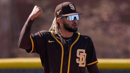San Diego Padres' Fernando Tatis Jr. reacts after