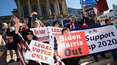 Demonstrators protest Joe Biden's presidential win at a