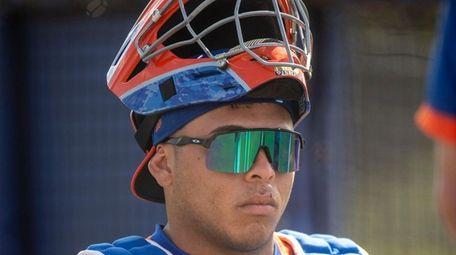 Mets catcher Francisco Alvarez during a spring training
