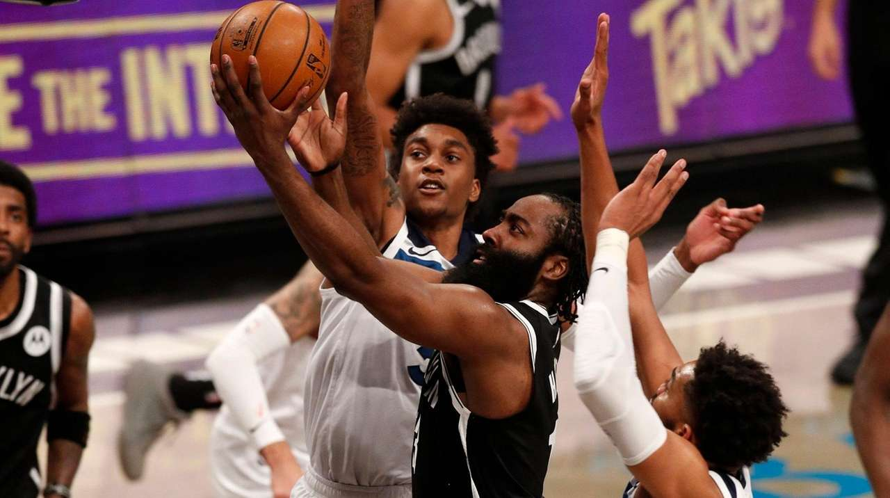 James Harden's 12th triple-double with Nets leads close win