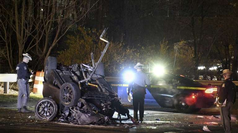Sheriffs on the scene of a Fatal crash on Southern State Parkway on Long Island