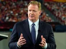 NFL Commissioner Roger Goodell talks during a ceremony