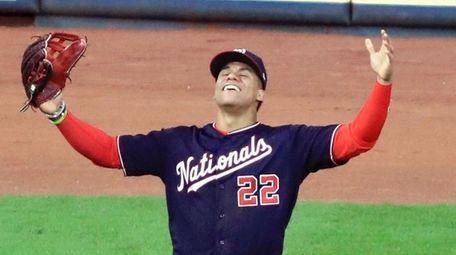 Juan Soto reacts after the Washington Nationals captured