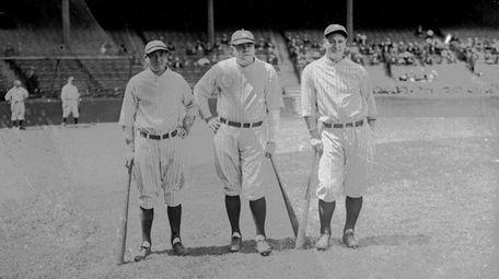 From left: Yankees sluggers Tony Lazzeri, Babe Ruth