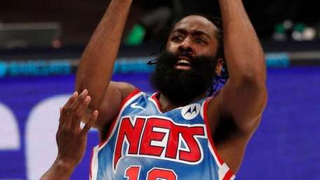 James Harden of the Nets puts up a