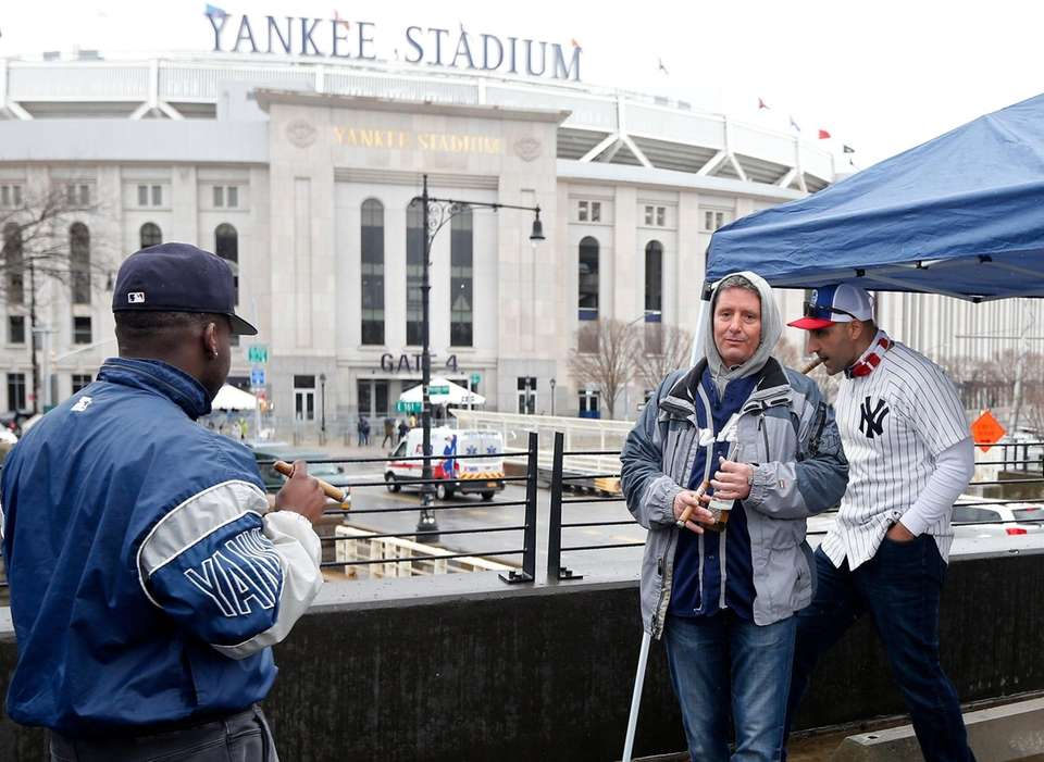 New York Yankee fans attend the teams Opening