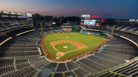 A view of a game at Nationals Park