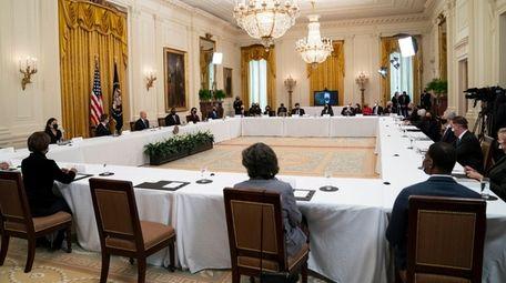 President Joe Biden speaks during the Cabinet meeting