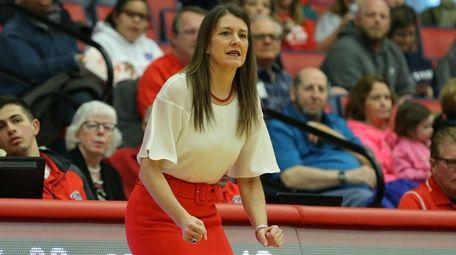Stony Brook head coach Caroline McCombs reacts as