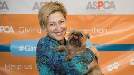Actor Edie Falco with her rescue dog Sami,