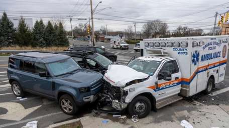 A Nassau County ambulance was involved in a