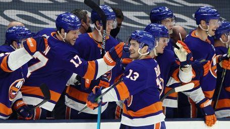 Mathew Barzal of the Islanders celebrates his game-winning