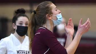 Samantha Green #1 of Mepham reacts during a
