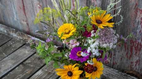 Harvested flowers made into a bouquet at North