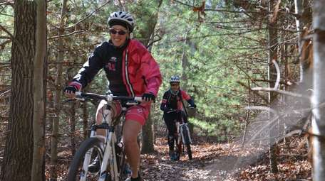 The mountain bike trail at Cathedral Pines Park