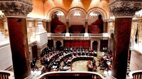 Members of the New York State Senate debate
